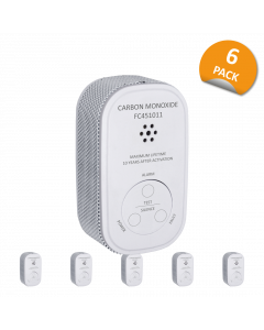 Kompakter Design Kohlenmonoxid Melder mit 10 Jahres Sensor und Fest Verbauter - 10 Jahres Batterie - 6-er Pack (FC4510)