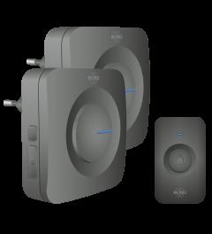 Draadloze Deurbel Set – 2x Plug-in Ontvanger - Zwart (DB3000PL-P1C2B)