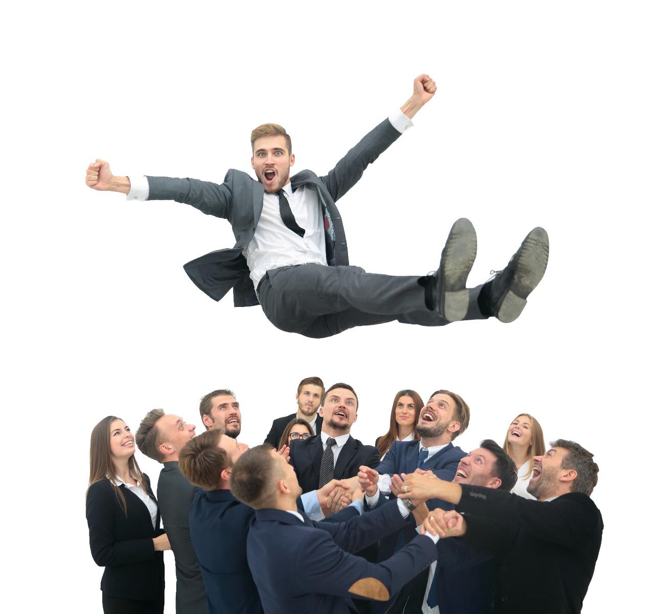 happy office men